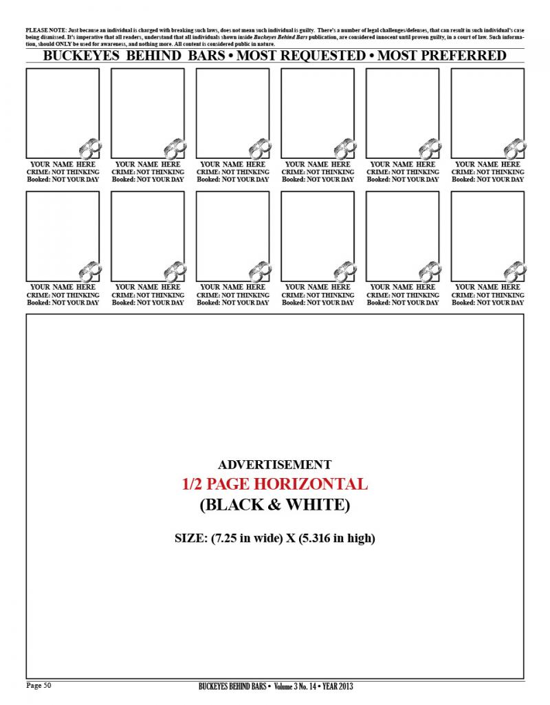1/2 PAGE HORIZONTAL AD - BLACK & WHITE