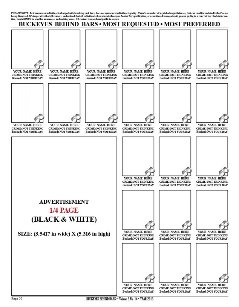 1/4 PAGE AD - BLACK & WHITE
