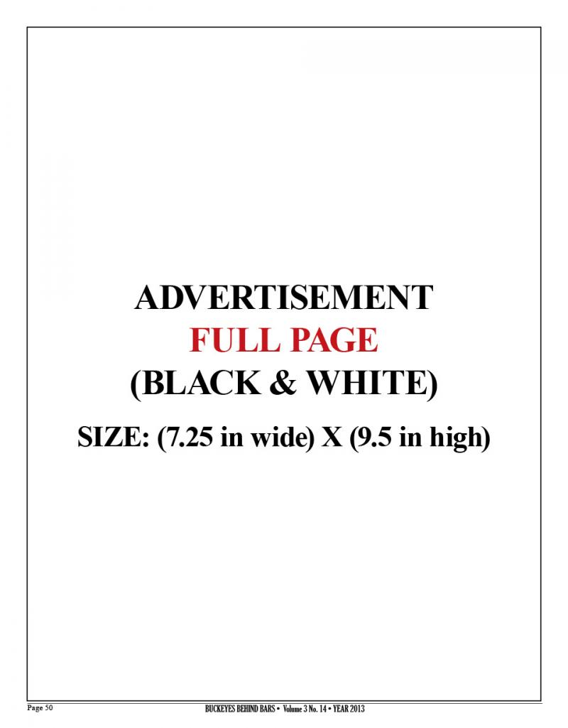 FULL PAGE AD - BLACK & WHITE